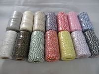 Siver & White 2 metres or Full 100m Roll 1mm Bakers Twine Rope String Thread Cord White and stripe